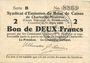 Banknoten Charleville et Mézières (08). Syndicat d'Emission de  Bons de Caisse. 2 francs 11.3.1916, série B