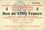 Banknoten Charleville et Mézières (08). Syndicat d'Emission de  Bons de Caisse. 5 francs 11.3.1916, série F