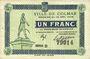 Banknoten Colmar (68). Ville. Billet. 1 franc 15.12.1918, série D