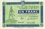 Banknoten Colmar (68). Ville. Billet. 1 franc 15.12.1918, série F. Filigrane « G TORPE(…) »