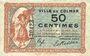 Banknoten Colmar (68). Ville. Billet. 50 centimes 15.12.1918, sans série