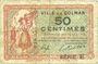 Banknoten Colmar (68). Ville. Billet. 50 centimes 15.12.1918, série E