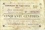 Banknoten Courrières (62). Commune. Billet. 50 centimes, émission mai 1915