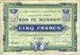 Banknoten Croix et Wasquehal (59). Villes. Billet. 5 francs 10.11.1914, série 6190