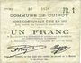 Banknoten Cuincy (59). Commune. Billet. 1 franc, émis en 1915