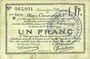 Banknoten Douai et Région de Carvin (59). Billet. 1 franc 22.5.1916, 1ère série B