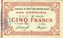 Banknoten Fontaine-Notre-Dame (59). Commune. Billet. 5 francs, série A
