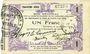 Banknoten Fourmies (59). Bon Régional des Départ. du Nord, Aisne & Oise. Billet. 1 franc 24.10.1915, 3e série