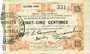Banknoten Fourmies (59). Bon Régional des Départ. du Nord, Aisne & Oise. Billet. 25 cmes 24.10.1915, 8e série