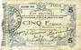 Banknoten Fourmies (59). Bon Régional des Départ. du Nord, Aisne & Oise. Billet. 5 francs 24.10.1915, 2e série