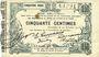 Banknoten Fourmies (59). Bon Régional des Départ. du Nord, Aisne & Oise. Billet. 50 cmes 24.10.1915, 5e série