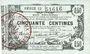 Banknoten Fourmies (59) Bon Régional des Départ. du Nord, Aisne & Oise, billet 50 cmes 8.5.1915, série 13