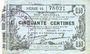 Banknoten Fourmies (59). Bon Régional des Départ. du Nord, Aisne & Oise. Billet. 50 cmes 8.5.1915, série 14