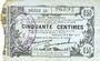 Banknoten Fourmies (59). Bon Régional des Départ. du Nord, Aisne & Oise. Billet. 50 cmes 8.5.1915, série 23