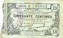 Banknoten Fourmies (59). Bon Régional des Départ. du Nord, Aisne & Oise. Billet. 50 cmes 8.5.1915, série 26