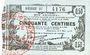 Banknoten Fourmies (59). Bon Régional des Départ. du Nord, Aisne & Oise. Billet. 50 cmes 8.5.1915, série 27