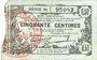 Banknoten Fourmies (59). Bon Régional des Départ. du Nord, Aisne & Oise. Billet. 50 cmes 8.5.1915, série 34