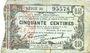 Banknoten Fourmies (59). Bon Régional des Départ. du Nord, Aisne & Oise. Billet. 50 cmes 8.5.1915, série 36