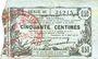 Banknoten Fourmies (59). Bon Régional des Départ. du Nord, Aisne & Oise. Billet. 50 cmes 8.5.1915, série 38
