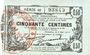 Banknoten Fourmies (59). Bon Régional des Départ. du Nord, Aisne & Oise. Billet. 50 cmes 8.5.1915, série 40
