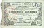 Banknoten Fourmies (59). Bon Régional des Départ. du Nord, Aisne & Oise. Billet. 50 cmes 8.5.1915, série 43