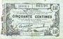 Banknoten Fourmies (59). Bon Régional des Départ. du Nord, Aisne & Oise. Billet. 50 cmes 8.5.1915, série 5