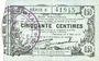 Banknoten Fourmies (59). Bon Régional des Départ. du Nord, Aisne & Oise. Billet. 50 cmes 8.5.1915, série 8