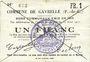 Banknoten Gavrelle (62). Commune. Billet. 1 franc 22.8.1915