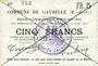 Banknoten Gavrelle (62). Commune. Billet. 5 francs 22.8.1915