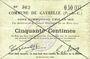 Banknoten Gavrelle (62). Commune. Billet. 50 cmes 20.3.1915