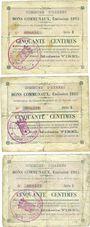Banknoten Harnes (62). Commune. Billets. 50 cmes (3 ex variés) 20.2.1915, série E