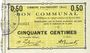 Banknoten Haynecourt (59). Commune. Billet. 50 centimes 29.8.1915