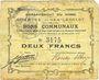 Banknoten Hem-Lenglet (59). Commune. Billet. 2 francs 20.12.1914