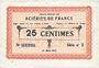 Banknoten Isbergues (62). Société Anonyme des Aciéries de France. Billet. 25 centimes (1.3.1917), série 2
