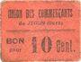 Banknoten Jegun (32). Union des Commerçants. Billet. 10 centimes