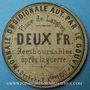 Banknoten Langres (52) (place de). Billet. 2 francs 3.9.1870, carton jaune clair et mauve. Inédit !