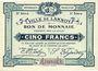 Banknoten Lannoy (59). Ville. Billet. 5 francs, 3e série, essai, sans numérotation. Annulation manuscrite