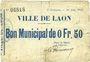 Banknoten Laon (02). Ville. Billet. 0,50 franc 30.6.1915, 4e émission