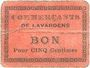 Banknoten Lavardens (32). Commerçants. Billet. 5 centimes. N° 45 !