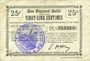 Banknoten Le Verguier (02). Commune. Billet. B.R.U., 25 cmes