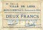 Banknoten Lens (62). Ville. Billet. 2 francs 14.11.1914