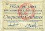 Banknoten Lens (62). Ville. Billet. 50 centimes 14.11.1914