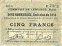 Banknoten Lewarde (59). Commune. Billet. 5 francs 13.1.1915, série C