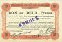 Banknoten Longueville (59). Commune. Billet. 2 francs 13.3.1915, cachet ANNULE