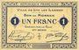 Banknoten Lys-Lez-Lannoy (59). Ville. Billet.1 franc 3e série. Essai sans numérotation ni cachet de la commune