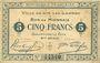 Banknoten Lys-Lez-Lannoy (59). Ville. Billet. 5 francs, 8e série