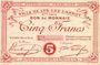 Banknoten Lys-Lez-Lannoy (59). Ville. Billet. 5 francs, 9e série. Inscription manuscrite Spécimen