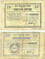 Banknoten Marteville-Attilly (02). Billet. B.R.U., 25 cmes, 50 cmes