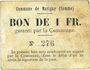 Banknoten Matigny (80). Commune. Billet. 1 franc