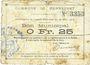 Banknoten Mennevret (02). Commune. Billet. 25 centimes 30.3.1915